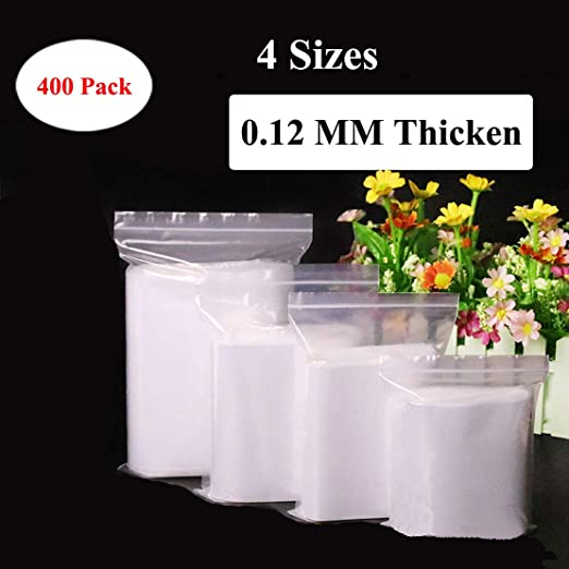 500Pcs Mini Reclosable Zip Lock Clear Portable Storage Bags for Small Items Welc