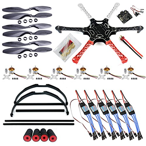 e RC Hexacopter Drone DIY PNF Unassembly Combo Set (No Battery and Remote Controller) with Kkmulticopter Flight Controller (DIY Drone Kit for Beginners) (Related Parts Mount Motor)
