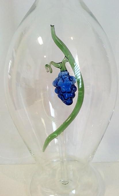 Jarra de cristal claro, botella de vidrio transparente soplado a boca con uvas de cristal