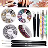 Set of Nail Art Accessories With 3D Silver And Golden Metal Studs In 12 Shapes, Silver And Colourful Crystals, 5 Dotters, Striping Tapes, Anti Static Tweezers Straight & Curved And Brushes By VAGA