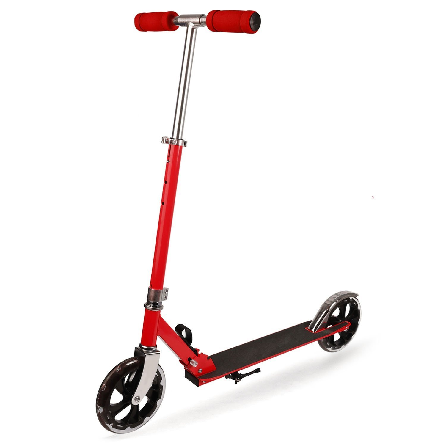 Folding Adult Kick Scooter - Height Adjustable - Commuter Street Push Scooter for Teens - Smooth & Fast Ride, 200 lbs Weight Capacity