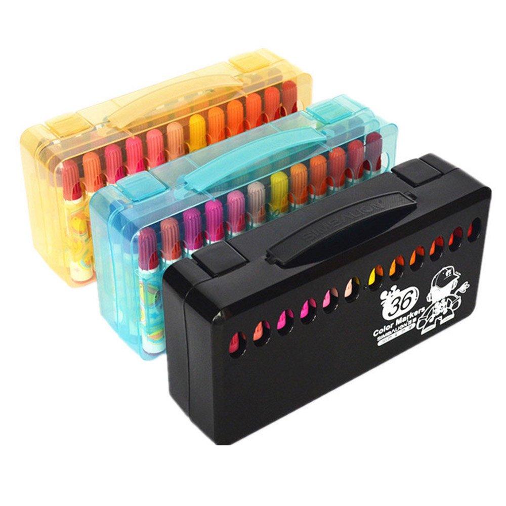 Watercolor Pen 36 Color Graffiti Painting Color Pen Gift Box for Children Environmental Protection Rough Head Watercolor Pen Set (Color : Black)