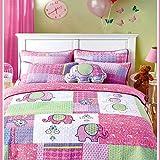 Newrara Elephant Bedding Quilt Set Twin For Kids/Girls 2Pcs