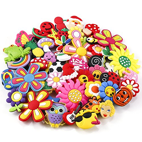 PP OPOUNT 50 Pieces PVC Different Shoe Charms for Croc & Jibbitz Bands Bracelet Wristband Kids Party Birthday Gifts