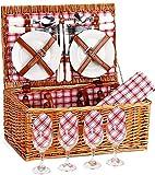 Wicker Picnic Basket for 4   Picnic Hamper 4 Person