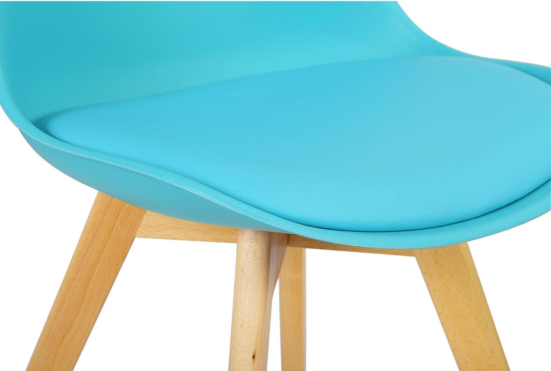 eSituro 2 x Sedie Sala da Pranzo da Soggiorno Sedia Cucina Moderna con Seduta Imbottita Senza Braccia in Plastica Blu SDC0009