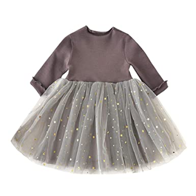 b800f950f60f1 Amazon.com: Baby Girls Dress Clothes Infant Sequin Star Print Tutu ...