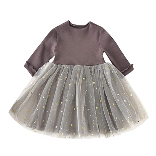 4e1bc09f GoodLock Baby Girls Fashion Dresses Toddler Kids Long Sleeve Children  Princess Tulle Dress Clothes (Coffee