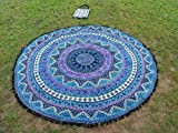 Apoorva's bell fringe lace Roundie Mandala Beach Throw, Round Mandala Sheet, Tassel Fringes Mandala, Meditation Yoga Mat with Beautiful Carry Bag