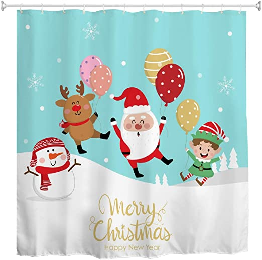 Waterproof Christmas Bathroom Fabric Shower Curtain Snowman Santa With 12 Hooks