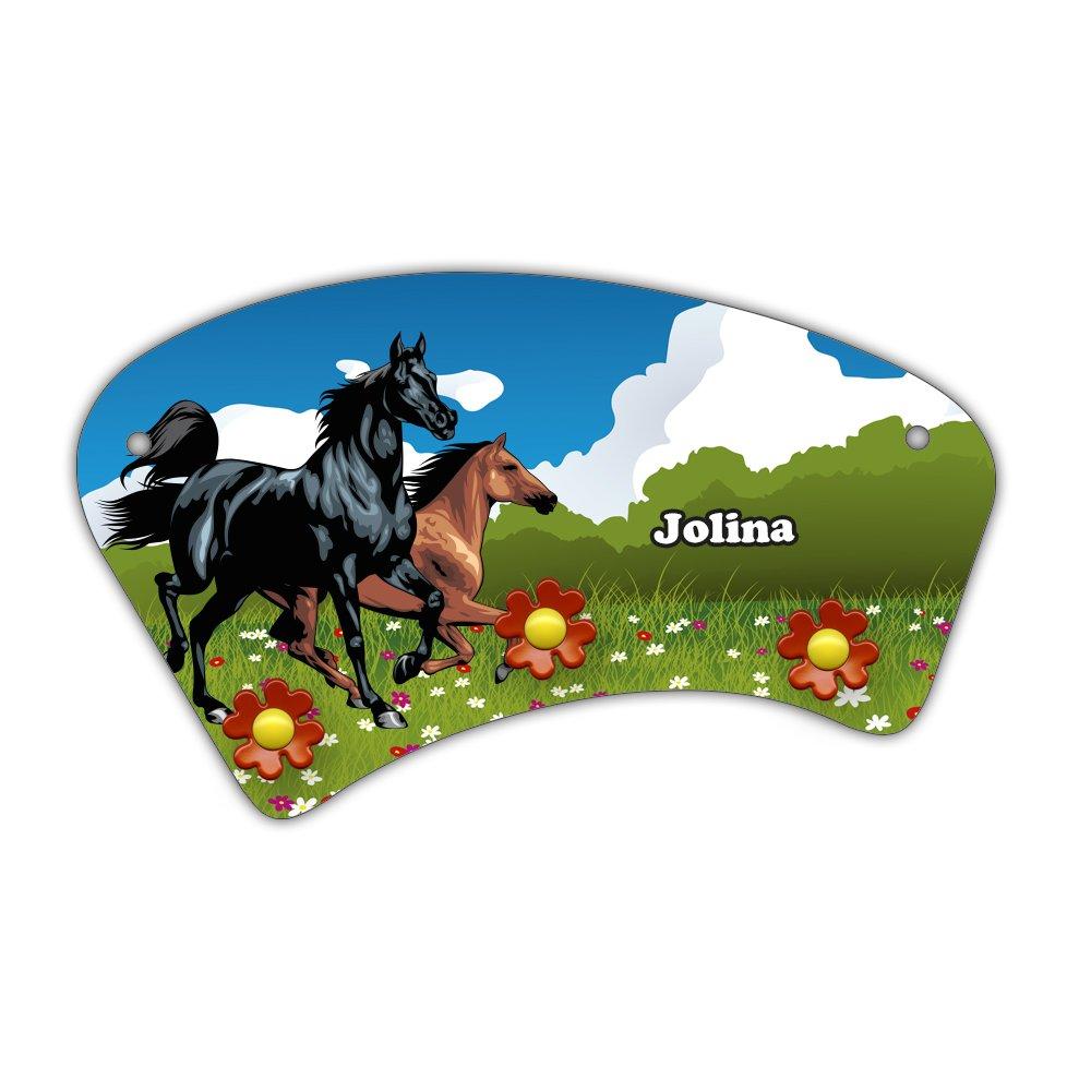 Wand-Garderobe mit Namen Jolina und schö nem Pferde-Motiv fü r Mä dchen - Garderobe fü r Kinder - Wandgarderobe Eurofoto