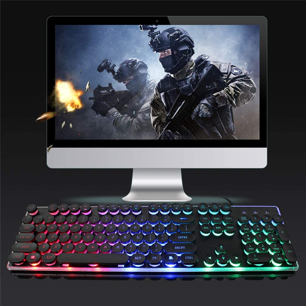 Rainbow RGB Backlight USB Wired Gaming Keyboard Plug /& Play104 Keys Keyboard and Mouse Combo Set WANGJIANGLI Mechanical Gaming Keyboard Mouse Kit