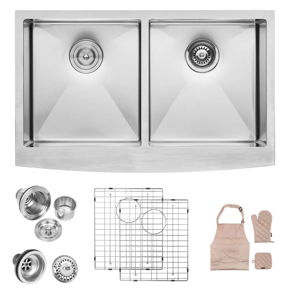 LORDEAR LA3321R2-55 33 inch Farmhouse Apron 50/50 Deep Double Bowl 16 gauge Stainless Steel Kitchen Sink by Lordear