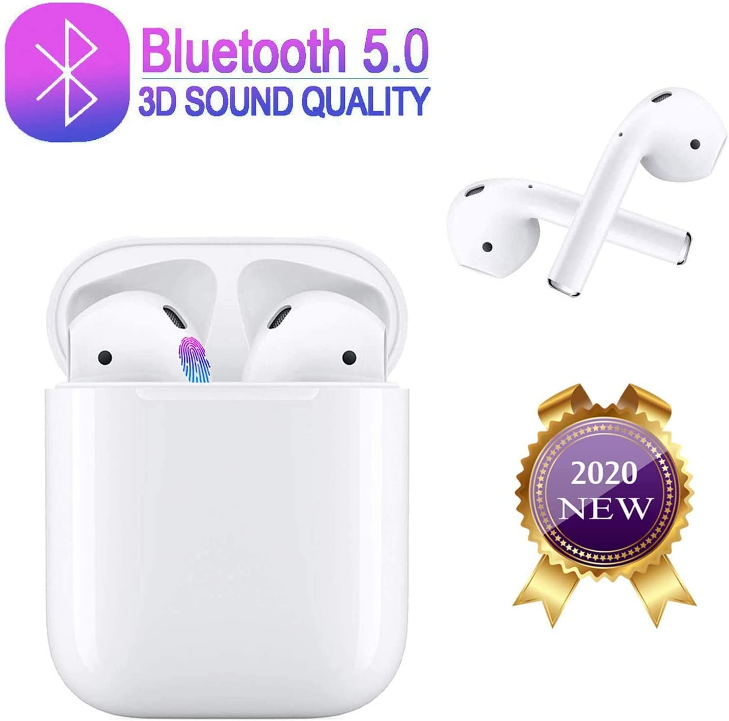 Bluetooth 5.0 Wireless Earbuds Headsets Bluetooth Headphones 24Hrs Charging Case 3D Stereo IPX5 Waterproof Pop-ups Auto Pairing Fast Charging for Earphone Samsung iOS Android Huawei Sport Earbuds