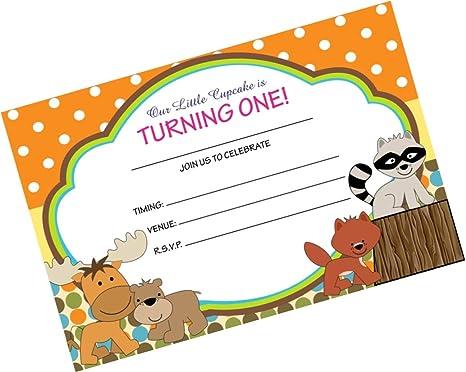 Partystuff Animals Theme Cards Animals 1st Birthday Invitation Card Invitation 48 Cards