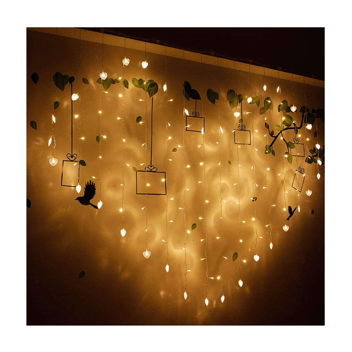 LED Window Curtain String Lights with UL Listed, Landscape Lights for Wedding Party and Bedroom, Waterproof and Antifreezing Outdoor Indoor Decorations Wall Lights (Heart-Shaped)