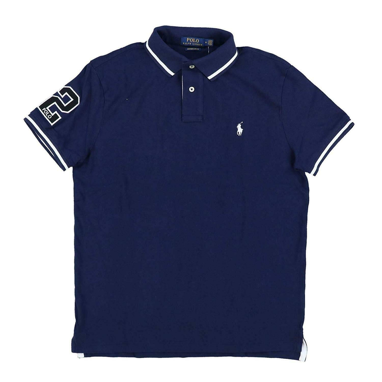 Polo Ralph Lauren Mens Custom Slim Fit Mesh Striped Collar Polo Shirt
