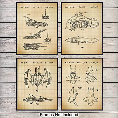 Batman Patent Art Prints - Vintage Wall Art Poster Set - Chic Modern Home Decor for Bedroom, Game Room, Man Cave, Office, Kids Room - Great Birthday Gift for Boys and Men - 8x10 Photo - Unframed ()