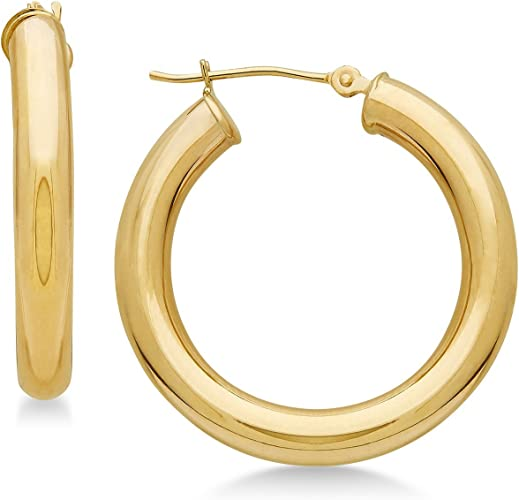 Large Thick 2-mm Tube 50-mm//2-inch Round 18K Gold Polished Continuous Endless Hoop Earrings