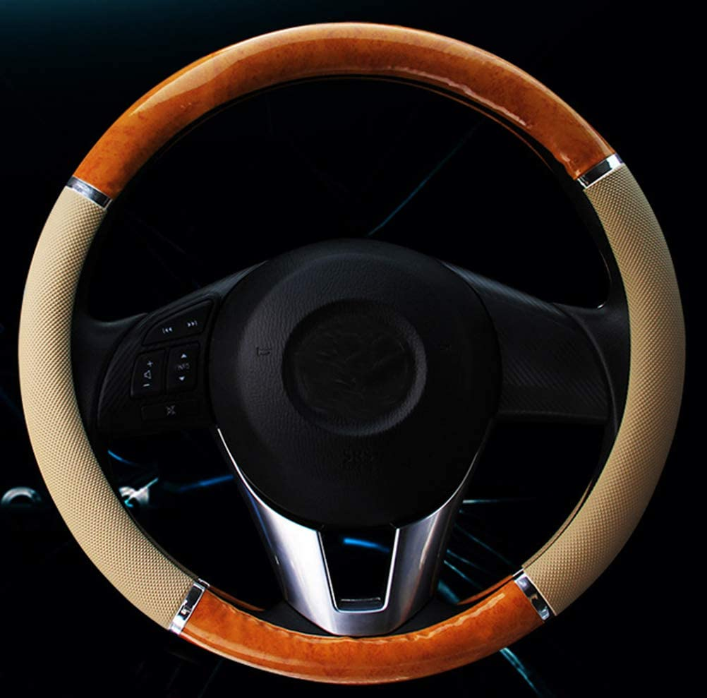 Mayco Bell Car Steering Wheel Cover Medium Lychee Pattern Crescent Wood Grain Universal 15 Inch Car Styling Beige