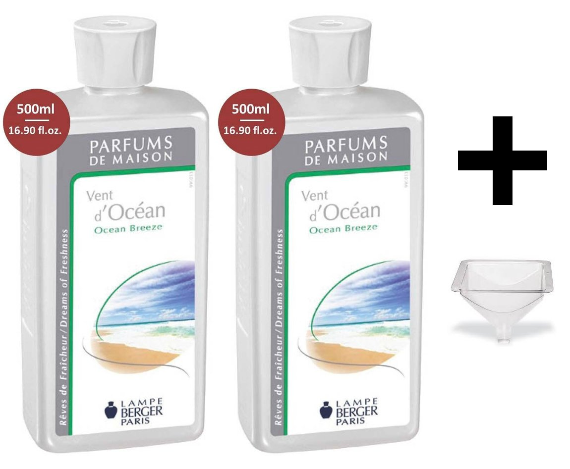 Lampe Berger Fragrance - Ocean Breeze - 500ml / 16.9 fl.oz. 2 Pack with Free Funnel