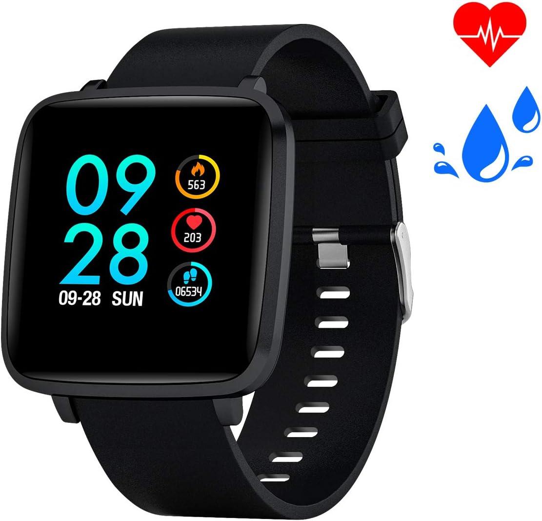 Blood Pressure Monitor Watch Fitness Tracker Smart Watch with Blood Oxygen Heart Rate Monitor IP68 Waterproof Pedometer Calorie Counter Men Women Kids Sport Watch Bebicna