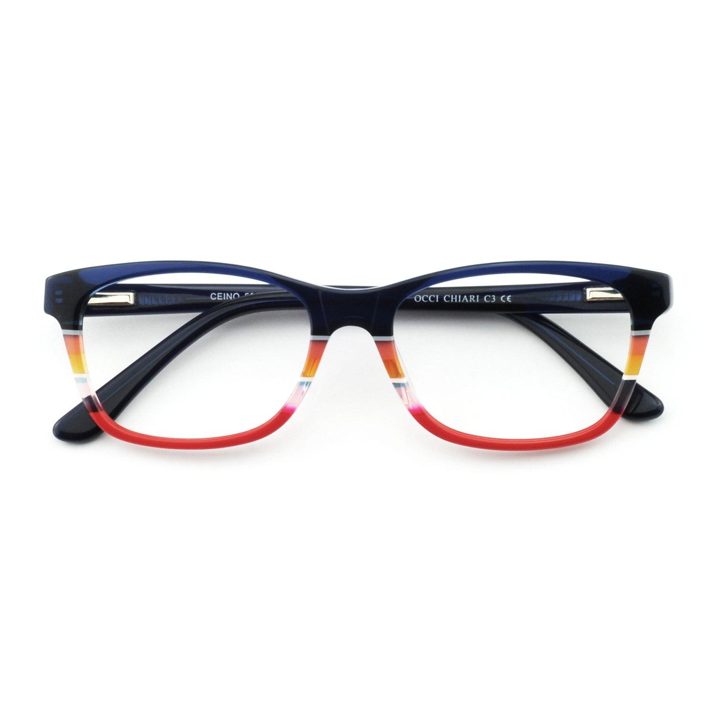 824570a6162 Amazon.com  OCCI CHIARI Women Rectangle Striped Non-Prescription Eyeglasses  With Clear Lens (Blue Red