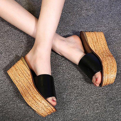 pour femmes des Sandales sandales Noir ZHANGRONG fond Waichuan éponge talons pantoufles Blanc Pente à pantoufles Sandales Sandales compensées sandales épais avec tai Fashion Gteau Couleur à d'été q5TB71F5w