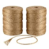 Natural Jute Twine 656 Feet 6 Ply 3mm Best Arts Crafts Gift Twine Christmas Twine Industrial Packing Materials Durable String for Gardening Applications (2 PCS x 328 Feet)