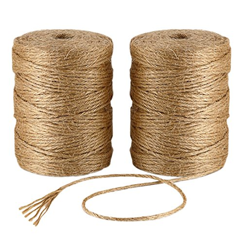 Natural Jute Twine 656 Feet 6 Ply 3mm Best Arts Crafts Gift Twine Christmas Twine Industrial Packing Materials Durable String for Gardening Applications (2 PCS x 328 Feet) by ILIKEEC