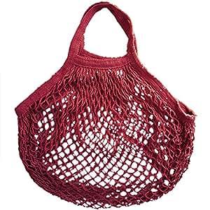 haotfire bolsa con cuerda Juego de hecho a mano bolsas de malla con ganchos para ir de compras playa deporte frutas bolsa de almacenamiento portátil