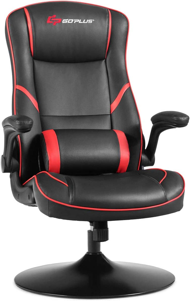Goplus Gaming Rocker Chair, Reclining Backrest Adjustable Computer Office Chair, High Back PU Leather Ergonomic Swivel Game Chair, Racing Style Rocking Gaming Chair Support for Adult