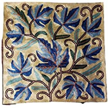 "MII HANDICRAFTS Exclusive Silk Embroidery Throw Cushion Cover Decorative Square - Blue Leafs 16""X16"" Thanksgiving Gift"