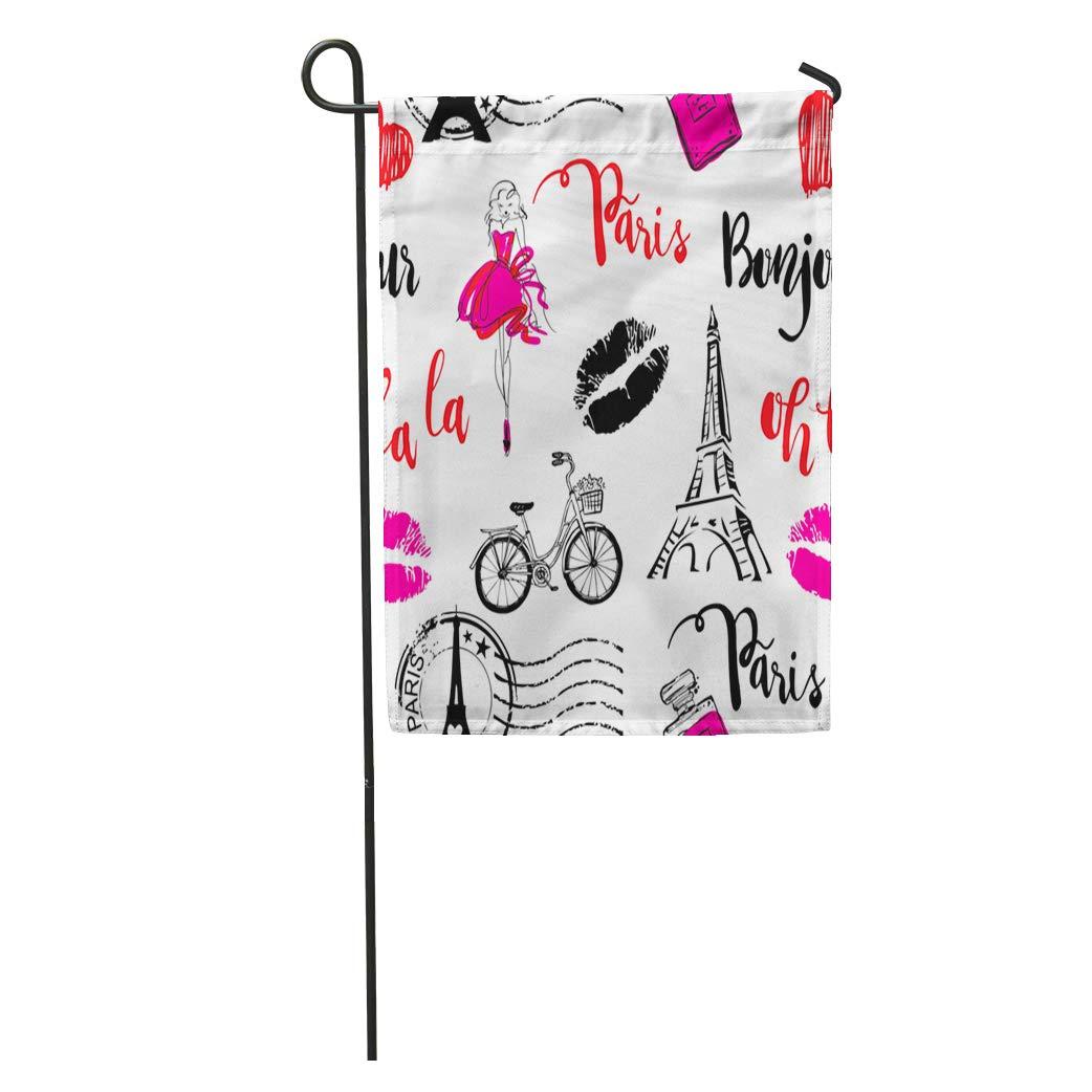 Amazon com : Semtomn Garden Flag Bonjour Paris Pattern