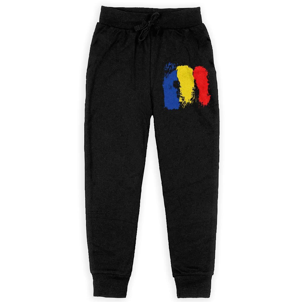 Girls Fleece Pants for Teenager Boys WYZVK22 Romanian Flag Soft//Cozy Sweatpants