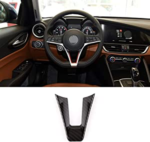 Carbon Fiber Style Steering Wheel Decoration Strip Trim 1 PCS For Alfa Romeo Giulia Stelvio 2017-2019 Car Accessory