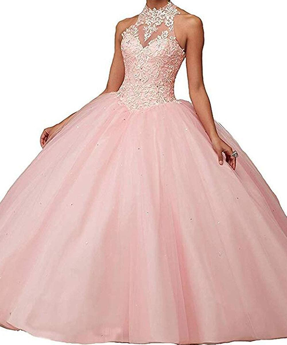 Pink Modeldress Illusion Halter Neck Quinceanera Dresses Applique Puffy Ball Gown Floor Length 2019