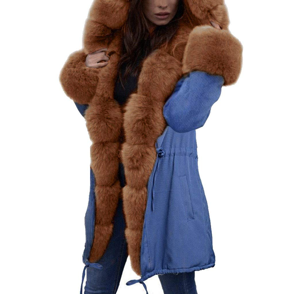 Shusuen Women Thicken Warm Winter Coat Hood Parka Overcoat Long Jacket Outwear Brown by Shusuen_Clothes