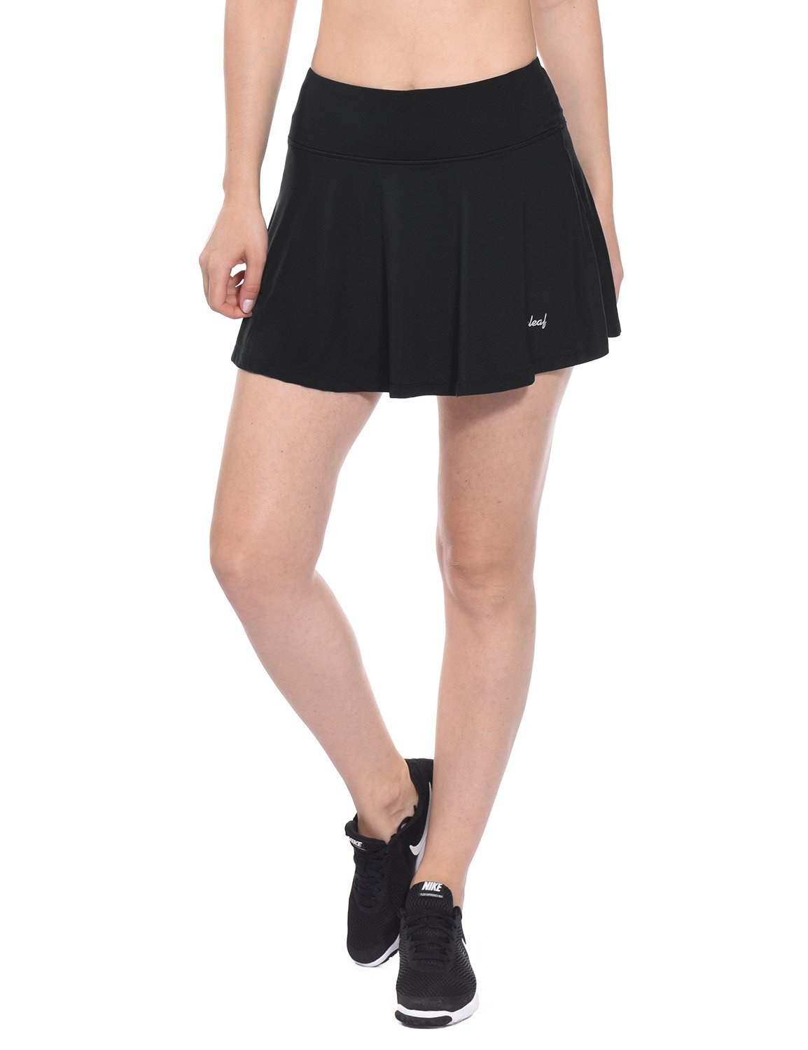 Baleaf Women's Athletic Pleated Tennis Golf Skirt with Pockets Black Size L