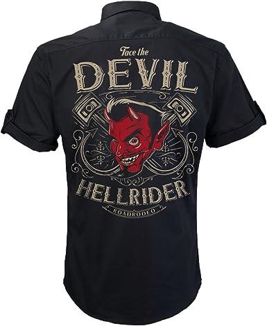Camisa Manga Corta, Worker Shirt, Rock and Roll, Infierno, Diablo, Hellride: Amazon.es: Ropa y accesorios