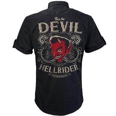 9a466ccca1fd Worker Shirt, Rockabilly Hemd,Teufel Shirt, Party Hemd, Hot Rod Devil
