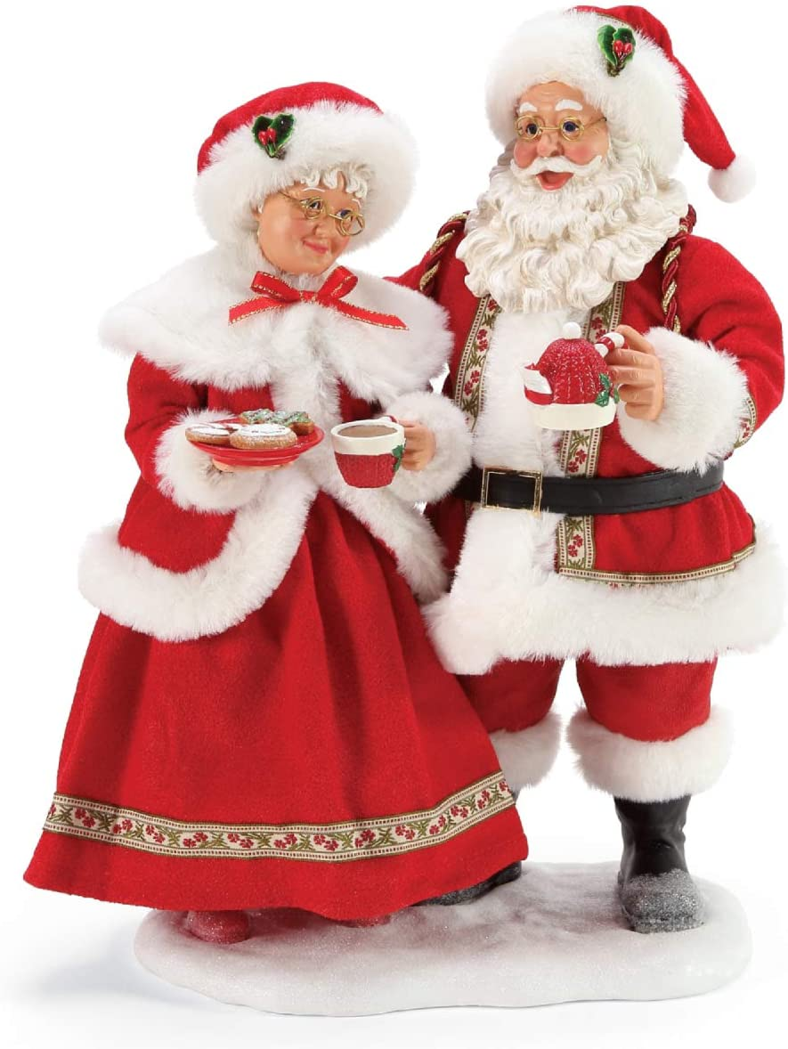 Department 56 Possible Dreams Santa Christmas Traditions Mrs. Claus Cocoa and Cookies Figurine, 11 Inch, Multicolor