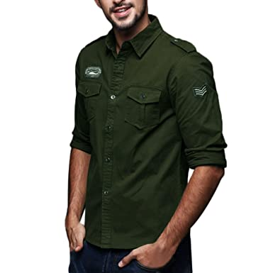 Kinlene Hombres Manga Larga Militar Estilo Camisa - Trabajo/Fiesta/Primavera y otoño Simple Ocio Casual Ropa De Trabajo