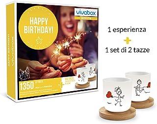 VIVABOX Cofanetto Regalo - Happy Birthday! - 1350 ATTIVITA' per 2 Persone + 1 Set di 2 Tazze
