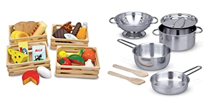 Melissa Doug Food Groups With Melissa Doug Stainless Steel Pots And Pans Pretend Play Kitchen And Food Set For Kids