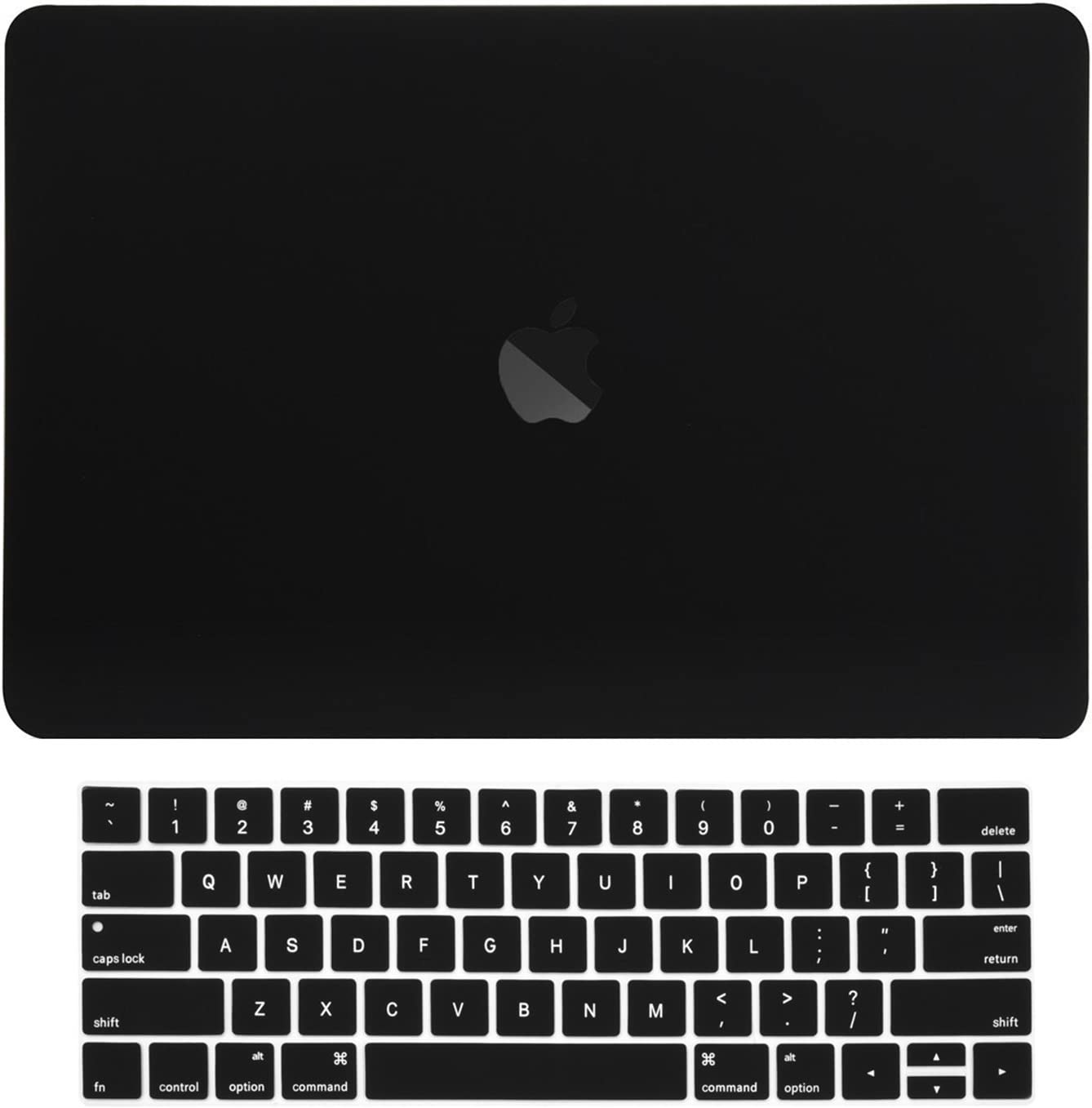 "TOP CASE MacBook Pro 15 inch Case 2019 2018 2017 2016 Release A1707 A1990, 2 in 1 Signature Bundle Rubberized Hard Case + Keyboard Cover Compatible MacBook Pro 15"" Touch Bar - Black"