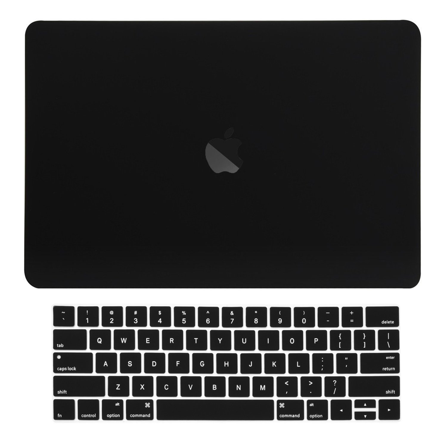 TOP CASE - Rubberized Matte Hard Case Cover + Matching Color Keyboard Cover Compatible WIth MacBook Pro 15''(15''Diagonally) with Touch Bar Model A1707,1990(Release 2016,2017,2018) - Black