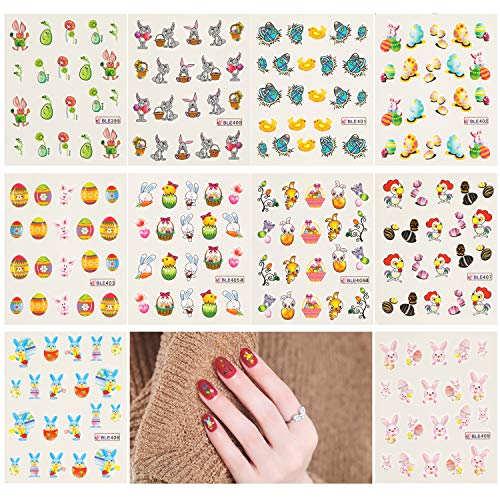 (200pcs Easter Nail Stickers, AKWOX Nail Art Water Slide Bunny Nail Decal Set Self-Adhesive Nail Tips Decorations for Girls Women Easter Party Favors)