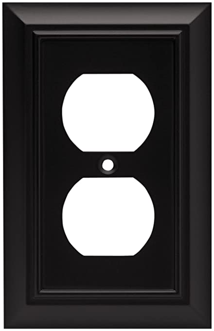 Brainerd 64218 architectural single duplex outlet wall plate switch plate cover flat black