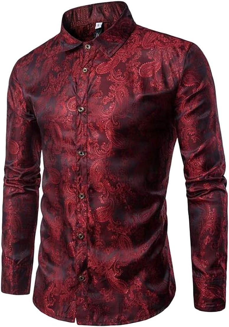 Wofupowga Mens Long Sleeve Paisley Button Up Slim Fit Thin Printed Shirts